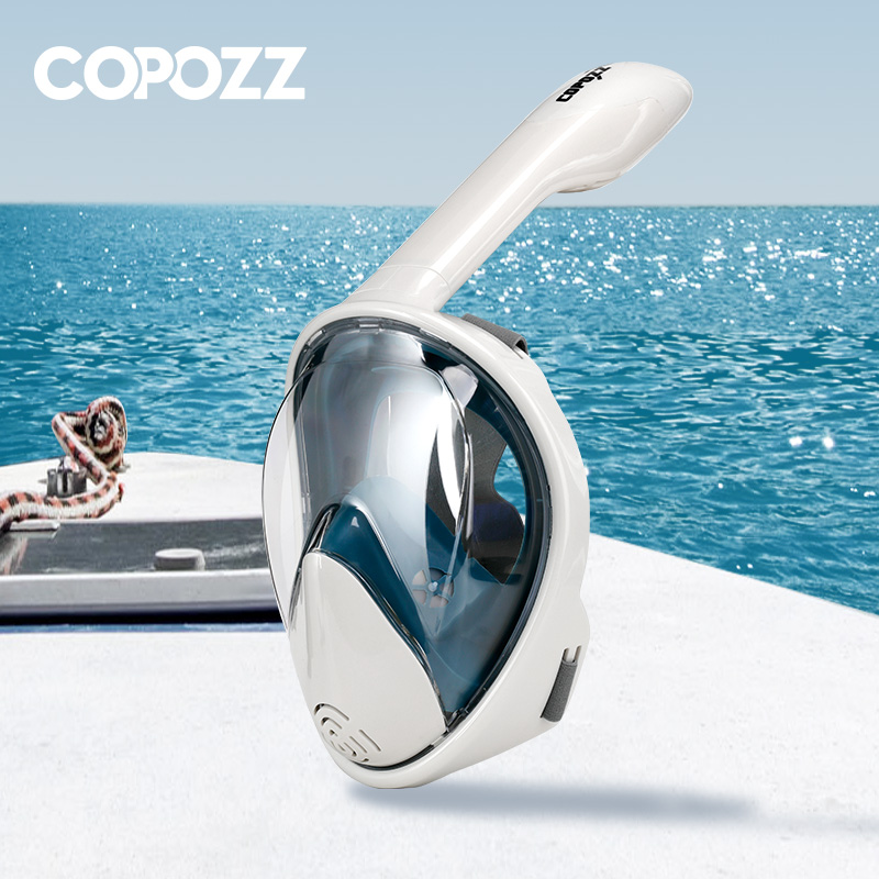 COPOZZ Full Face Scuba Diving Mask Anti Fog Goggles With Camera Mount Underwater Wide View Snorkel Swimming Mask For Adult Youth