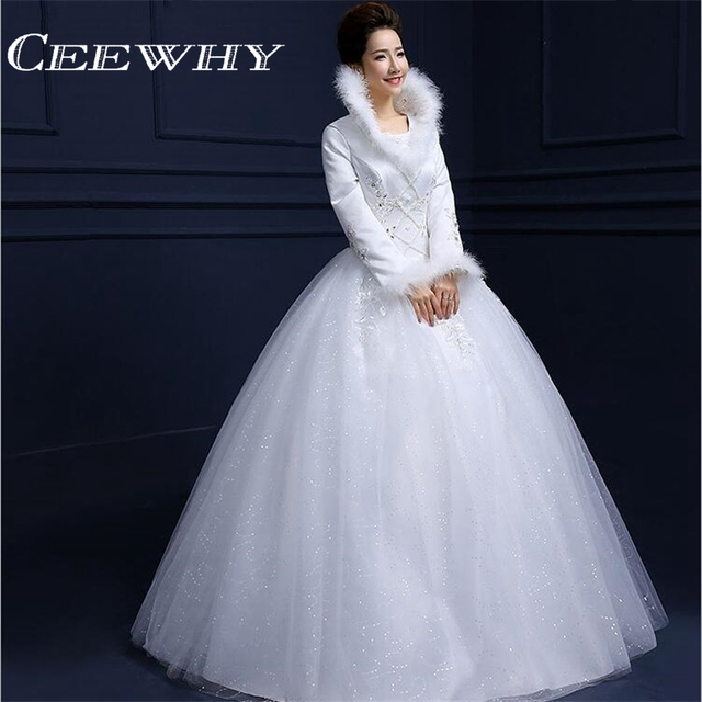 Ceewhy Feathers Embroidery Luxury Winter Wedding Dress Full Sleeves 2017 Ball Gown Pearl Vintage Bridal Gowns