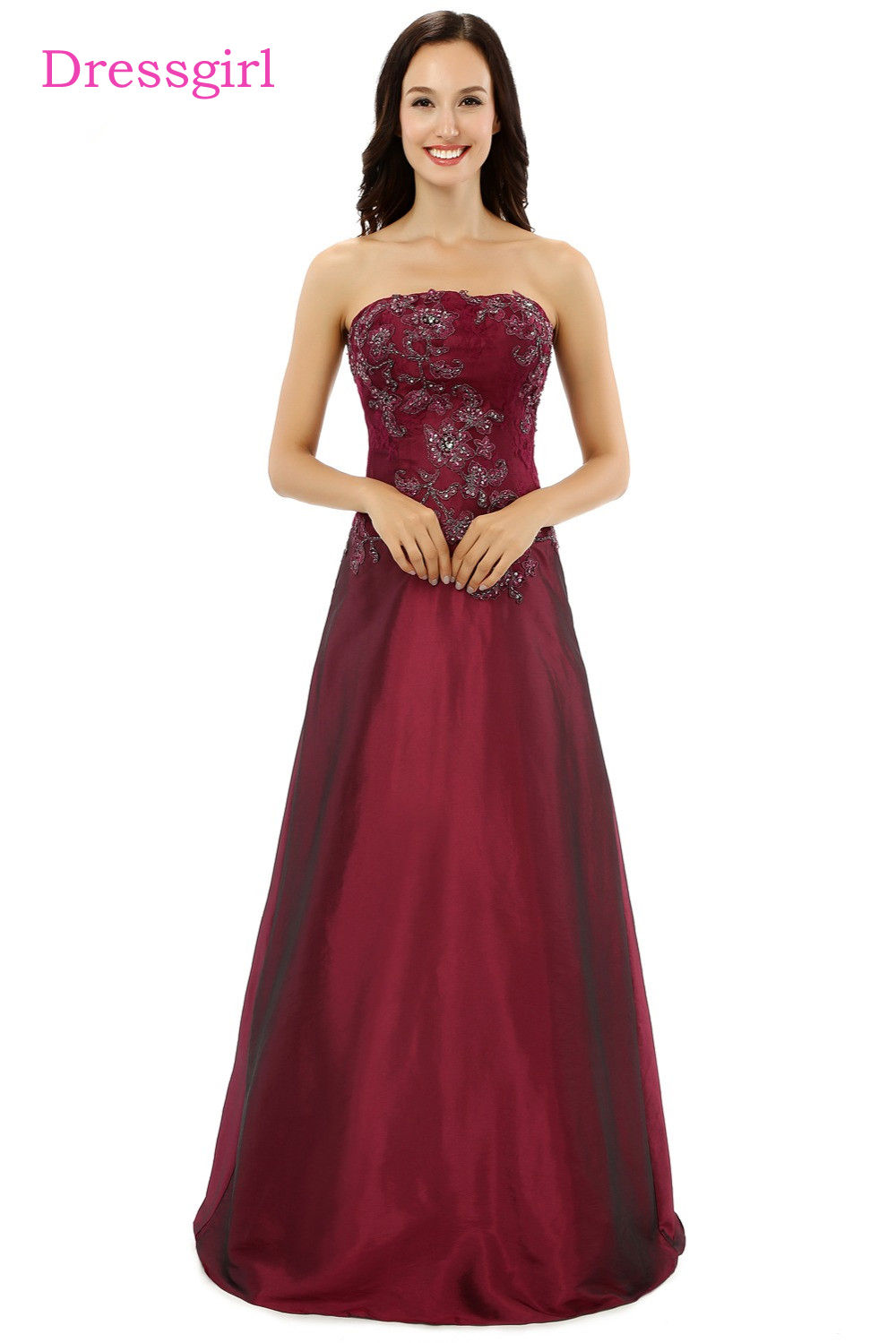 Plus Size Burgundy 2019 Mother Of The Bride Dresses A-line Strapless Taffeta Lace Wedding Party Dress Mother Dresses For Wedding
