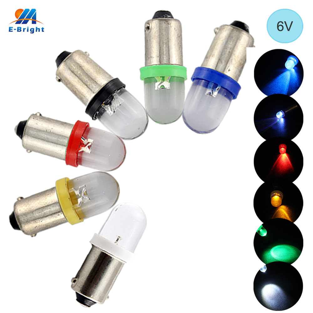 YM E-Bright 6V 6.3V DC 100 PCS BA9S T4W T11 LED Bulbs Convex Lens Car Styling White Blue Red Amber Green Instrument