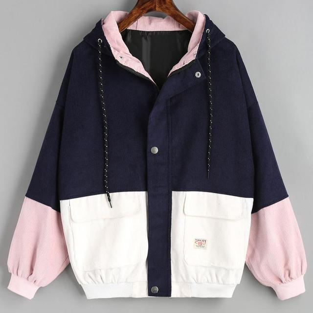 Long Sleeve Corduroy Patchwork Oversize Zipper Jacket Windbreaker coats and jackets women 4