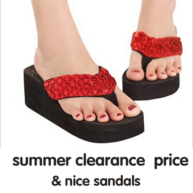 Sandalias Mujer Women Sequins Sandals Beach Slippers Shoes Summer Sandals Flip Flops Lady Wedges Shoes Woman sapatos RD670951