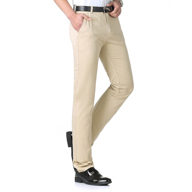 2fa905eeff1 Men Business Casual Pant Khaki Beige Black Cotton Trousers Man Slim Fit  Pant Business Casual Trouser Man Pantalone Spring Autumn