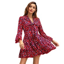 WHZHM Spring Bow Sexy Party Long Flare Sleeve Dress Women Vadim Club Beach Jurk Lace Up A-Line Mini Printed