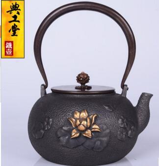 2018 nuevo estilo 1,2l olla de hierro fundido de loto olla de hierro imitación antigua olla de hierro japonés hervidor de hierro de cerdo del Sur tetera hervidor de agua - 2