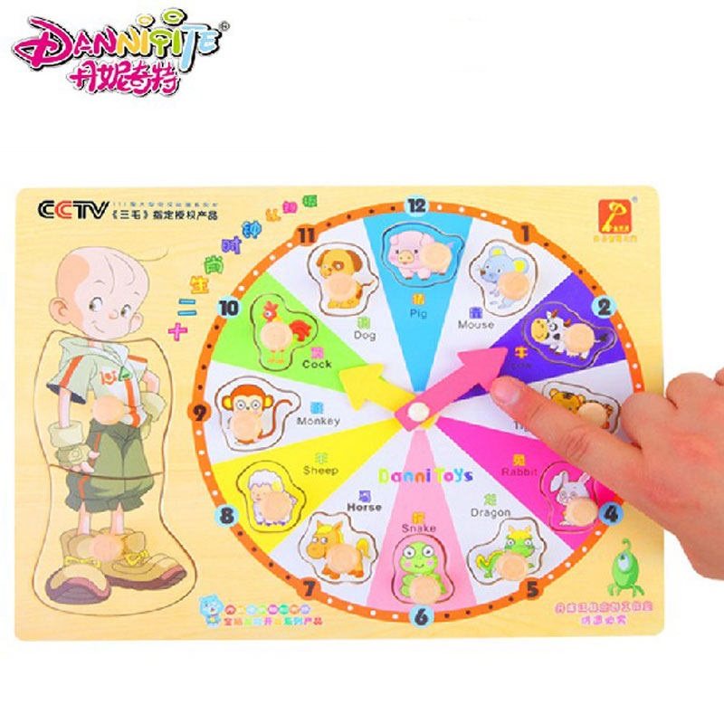 30*22.5*0.8cm Wooden Cartoon Animal Clock Puzzle Kids Color Time Numbers Words Recognization Educational Toys For Children hand grasp knob pegged puzzle wooden quality animals characters letter cognitive board children recognization toys