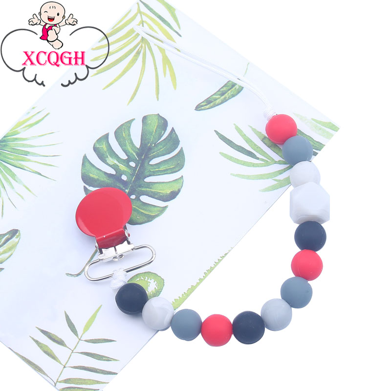 XCQGH Silicone Beads Infant Toddler Pacifier Clip Chain Feeding Binky Clip Dummy Teether Clip Soother Clip