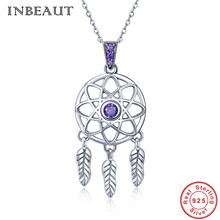 INBEAUT Trendy Dream Net Pendants Necklaces Genuine 925 Sterling Silver Purple Zircon Stone Feather Beads Necklace for Women