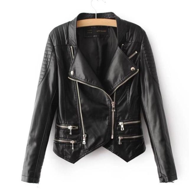 2017 Hot Sale Women Motorcycle Faux Leather Jackets Female Slim Fit Black Biker Zipper PU Autumn Winter Outerwear Clothing