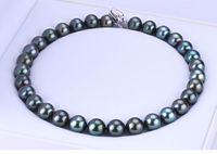 Noble Women Gift Jewelry Silver Clasp LONG 7 INCH 10 11mm Natural Australian South Seas Black