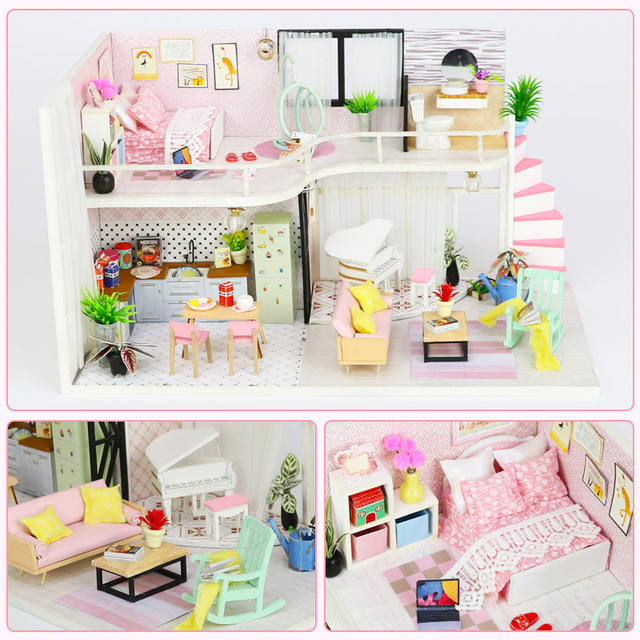 3D Doll House Miniature DIY Dollhouse With Furnitures Wooden House Waiting Time Coffee House Toys For Children Gift M035