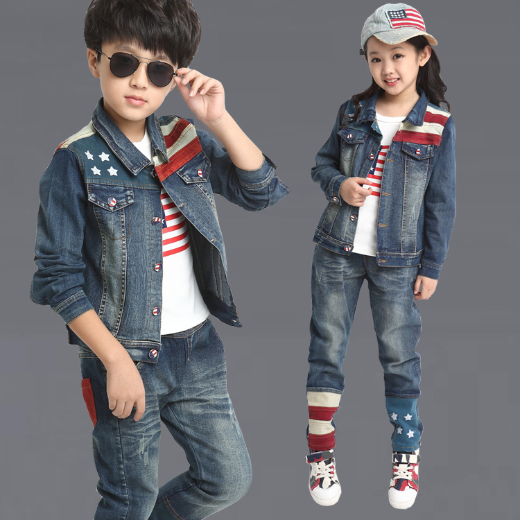 Free shipping new arrival children clothing set boy jeans suit jacket+pants boy leisure two-pieces cowboy suit new arrival spring autumn children clothing set 100% cotton boy leisure navy style long sleeve t shirt pants suit free shipping