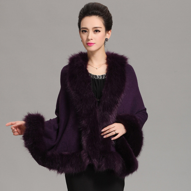 fe7918d0ff Autumn Winter Women s Long Cardigans Fake Fox Fur Collar Cashmere Sweaters  Shawl Knitted Cardigan Poncho Cape Big Yards Q6-55F