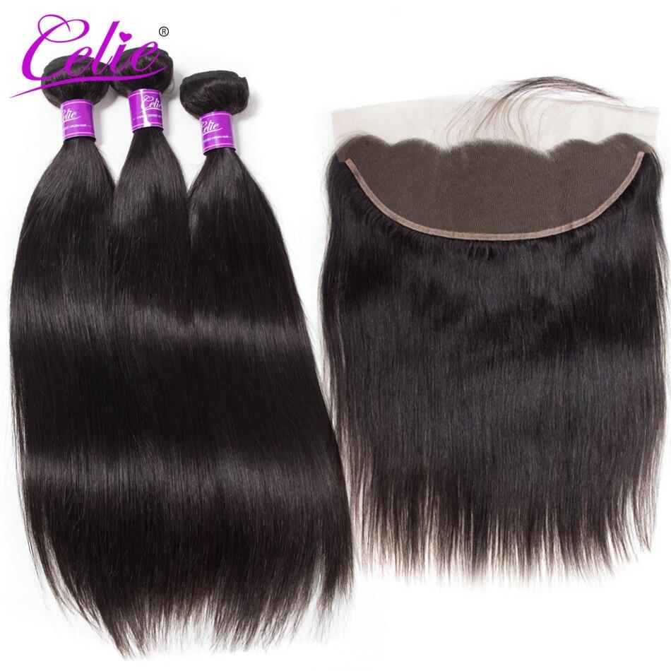 Celie волос бразильские прямые пучки волос плетение Кружева Фронтальная застежка с пучки человеческих волос 3 Связки с фронтальной