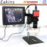 13MP HDMI VGA Digital Electronic Camera Microscope set+100X C mount lens+56 LED Ring Light+Stand holder+8 LCD Monitor