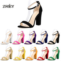 2016 Newest Women Open Toe Sexy Ankle Straps Sandals High Heels Summer Ladies Bridal Suede Thick