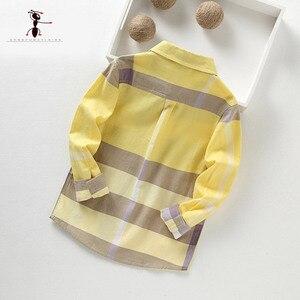 Image 2 - Kung Fu Ant 2020 sıcak pamuklu uzun kollutişört Turn down yaka sarı ekose çocuk 3 10 yaş çocuklar erkek gömlek 2349