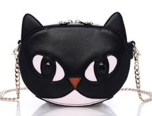 Black cat eyes chain shoulder bag, super cute animal shapes Messenger bag,women lady girls lovely fashion bag