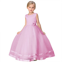 Wholesale Ruffled Decorate With Ribbon Kid Girls Party Dress Appliques With Crystal Girls Wedding Dress Free