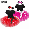 iEFiEL Kids Cosplay Girls Ballet Flower Dress Christmas Gift Girls Polka Dots Tutu Minnie Mouse Bow Dress with Headband 12M-8Y