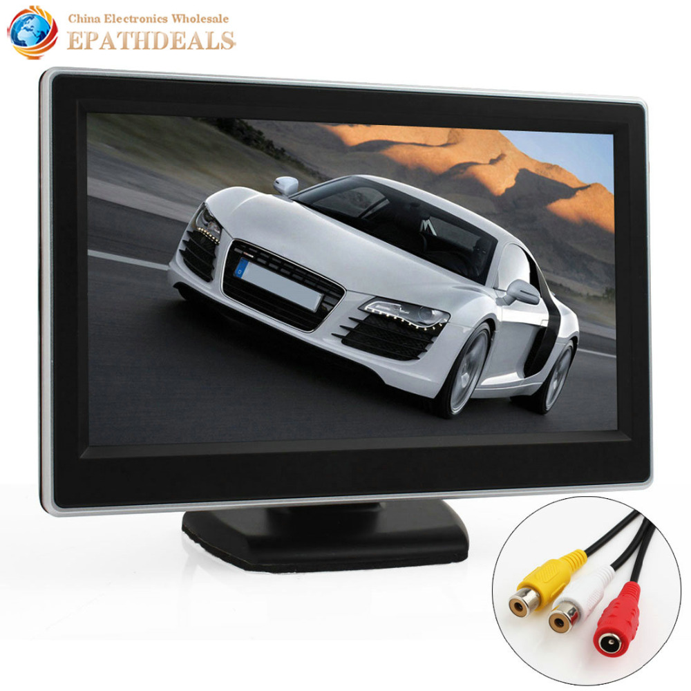 5 Inch TFT LCD Digital Car Rearview Monitor 5 Backup Parking Rear view Monitor 2 Video Input for Reverse Camera DVD VCD GPS