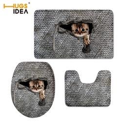 HUGSIDEA 3D Cute Animal Cat Owl Printed Toilet Seat Cover Round Mat 3 Piece Set Warmer Soft Bathroom Carpet Bath Accessories Set