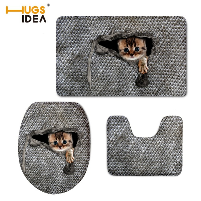 HUGSIDEA 3D Cute Animal Cat Owl Printed Toilet Seat Cover Round Mat 3 Piece  Set Warmer