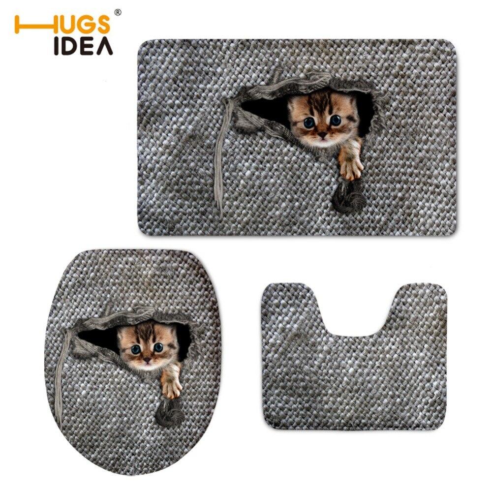 HUGSIDEA 3D Cute Animal Cat Owl Printed Toilet Seat Cover Mat 3 Piece Set  Warmer Soft Bathroom Carpet Toilet Accessories Set