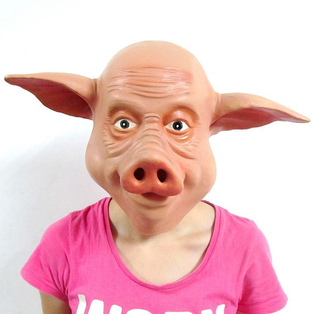 Funny Full Head Pig Mask for Masquerade Party Halloween Cosplay Mask Animal Costume Props Latex Mask