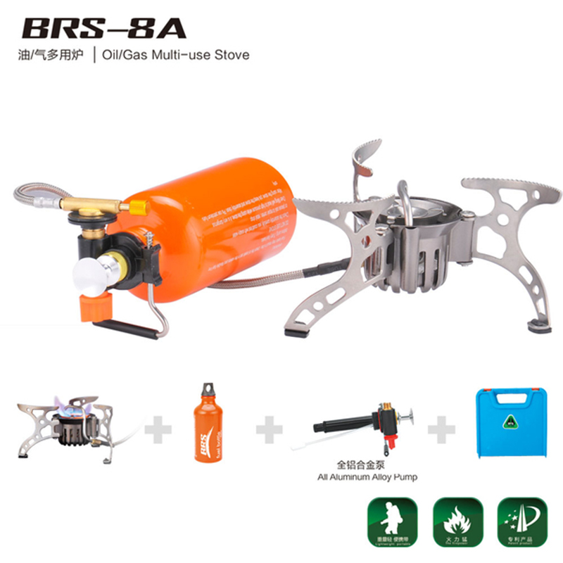 BRS-8A Oil/Gas Multi-Use Camping Picnic Gas Stove Wild Outdoor Cooking Portable Split Camping Windproof Gas Cooking Stove Cooker outdoor stove brs 11 gas burner camping stove gas cooker portable windproof hiking climbing picnic with adapter gas stove