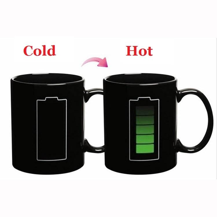 Creative Magic Battery Mugs Heating Color Change Ceramic Coffee Mugs Cold Hot Temperature Sensitive Reactive Cup