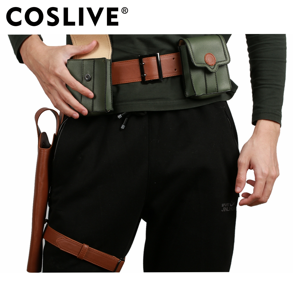 Coslive The Beautiful World Anime Cosplay Kino PU Leather Belt & Pockets & Holster Props Cosplay Costume Accessories For Men