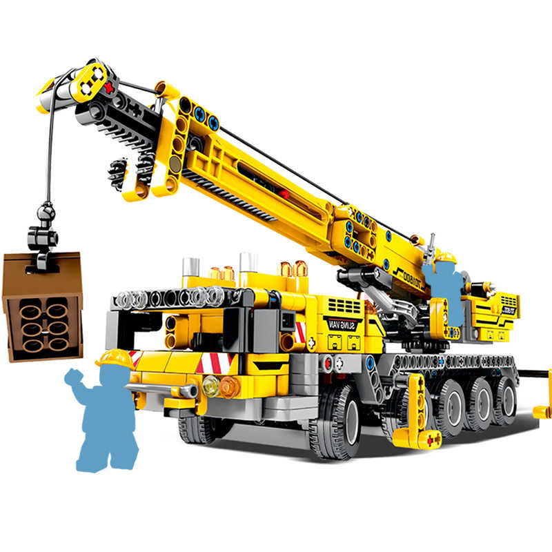 665pcs City Engineering Technic Machine Car Building Blocks Compatible Technic Enlighten Bricks DIY Toys For Kids Children Gifts