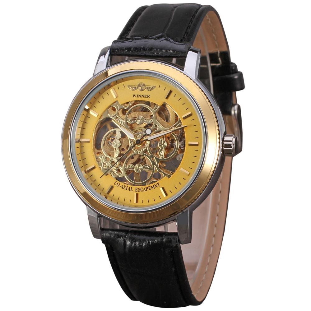 WINNER WATCH Stylish and trendy simple gold dial three hands, luxury low-key mens belt wrist watchWINNER WATCH Stylish and trendy simple gold dial three hands, luxury low-key mens belt wrist watch