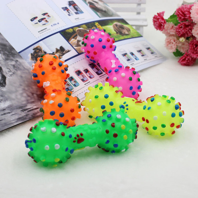 1pcs Pet Dog Cat Puppy Sound Polka Dot Squeaky Toy Rubber Dumbbell Chewing Funny Toy 5