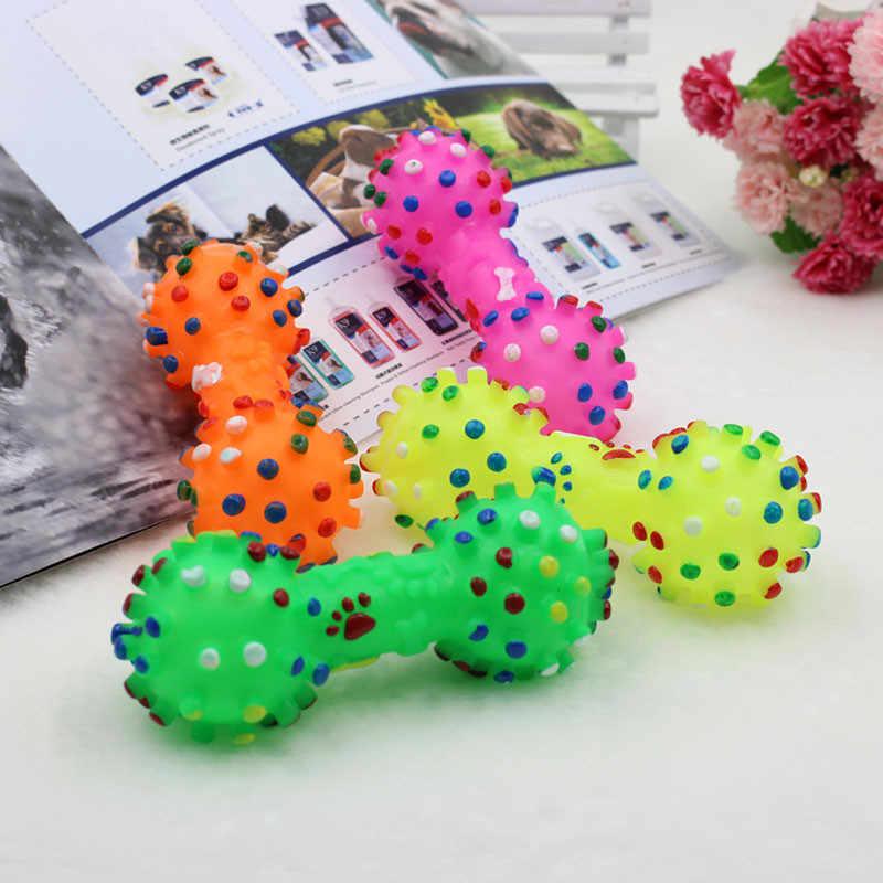 1 pçs cão de estimação gato filhote de cachorro som polka dot squeaky brinquedo borracha haltere mastigando brinquedo engraçado