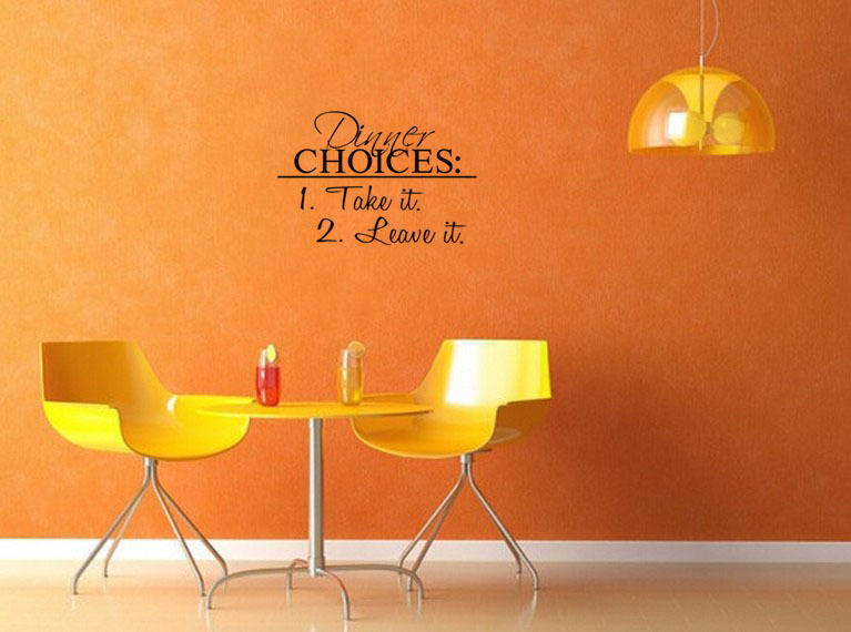 Free ShippingDIY Wall Decals Dinner Choices Take It Leave Stickers Kitchen Dining Room Decal
