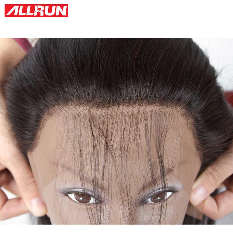 Allrun бразильские прямые натуральные волосы уха до уха синтетический Frontal шнурка волос синтетическое Закрытие 13X4 бесплатная часть предварительно сорвал