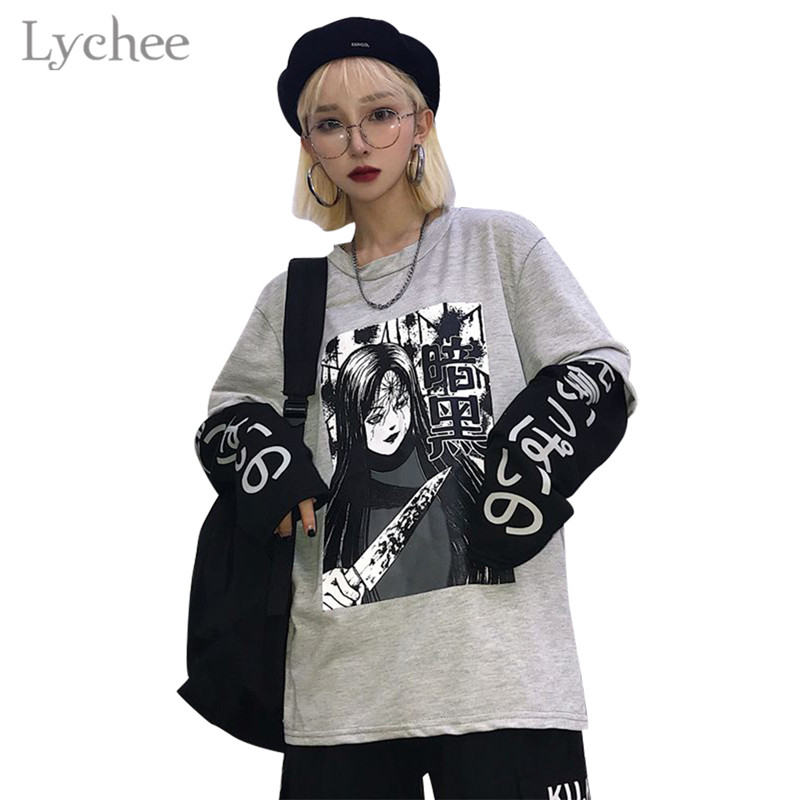 Lychee Harajuku Japanese Dark Anime Print Women T-Shirt Fake 2 Pieces O-Neck Long Sleeve Casual Loose Female T-shirt Streetwear