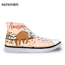 new product bfaf3 b9efd INSTANTARTS Cute 3D Printing Cartoon Animal Sloth Printed Girls Summer High  Top Canvas Shoes Flats Sneakers