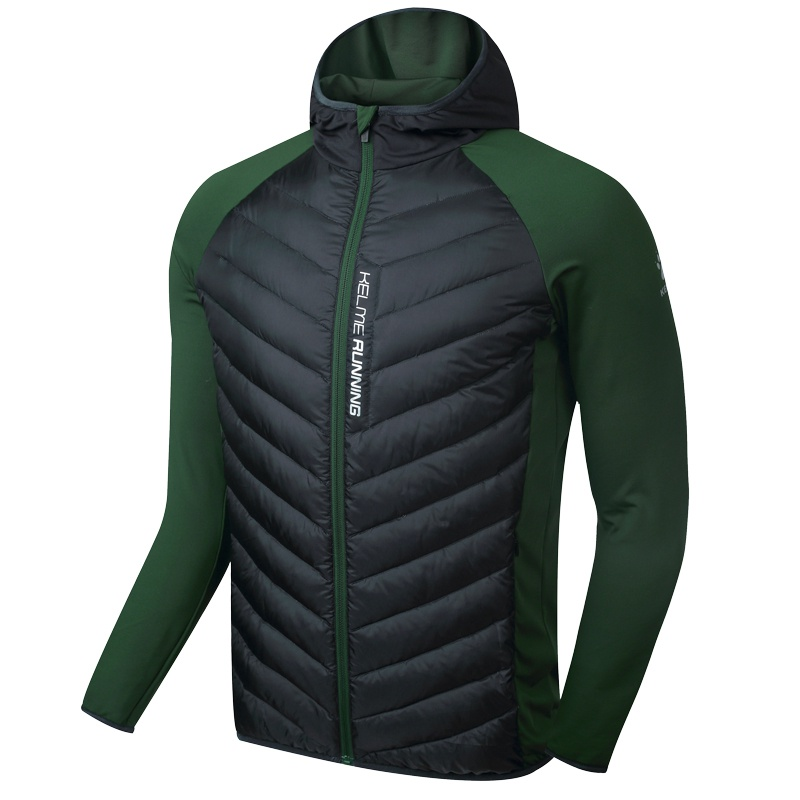 Kelme K16R6004 Men Long Sleeve Splicing Hooded Windproof Keep Warm Cotton Sport Running Imitation Down Jacket Black Dark Green