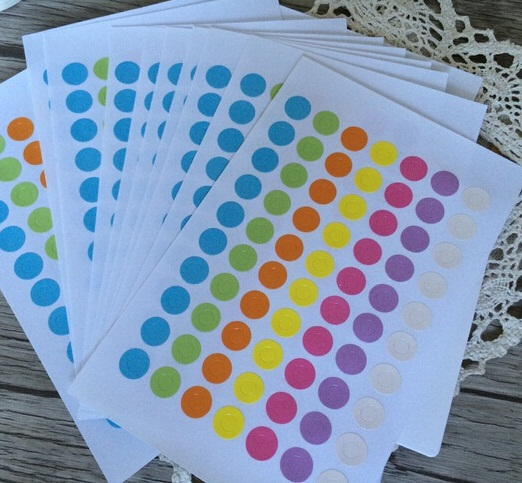 350PCS NEW Hot Sell  Vintage Colorful Ring Label Stickers For Gift Tag Reinforcement Hole Stickers