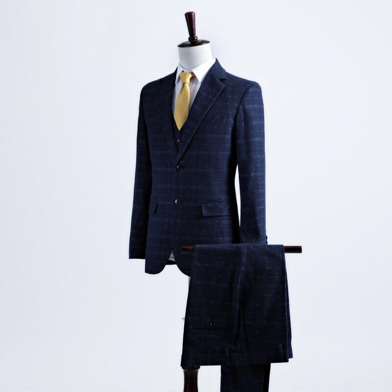 jacke + Pants Neue 2 Stück Anzug Verarbeitung In 2018 Mode Herren Navy Anzüge Blazer Hosen Formale Kleid Anzug Männer Hochzeit Anzüge Bräutigam Smoking Exquisite