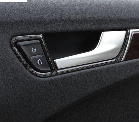 Porte en fibre de carbone poignées cadre couverture garniture auto accessoires intérieur voiture poignée de porte boîte modifiée bande 3D autocollants pour Audi A4 A5