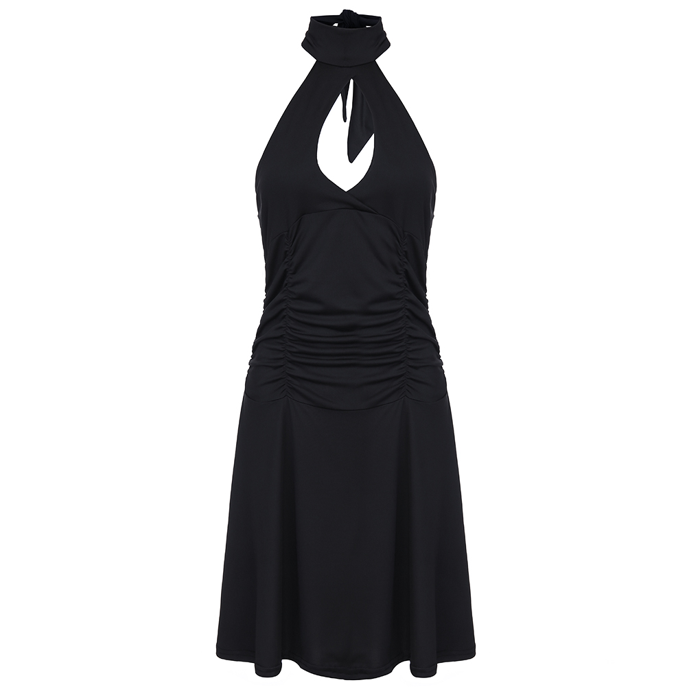 New Arrival Womens Cute Wedding Cocktail Sexy Nightclub Halter Neck Blackless A-Line Black Dress Short Real Pic