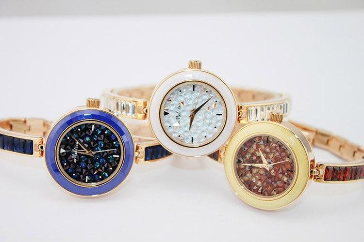 Estrelado Relógios Cristais Pulseira Relógio Pulseira Fina