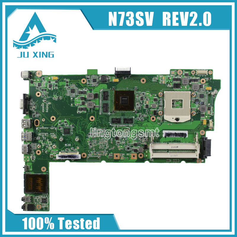 Original for ASUS N73S N73SV N73SM Laptop motherboard REV 2.0 GT 540M Socket PGA989 DDR3 100% tested women ladies flats vintage pu leather loafers pointed toe silver metal design