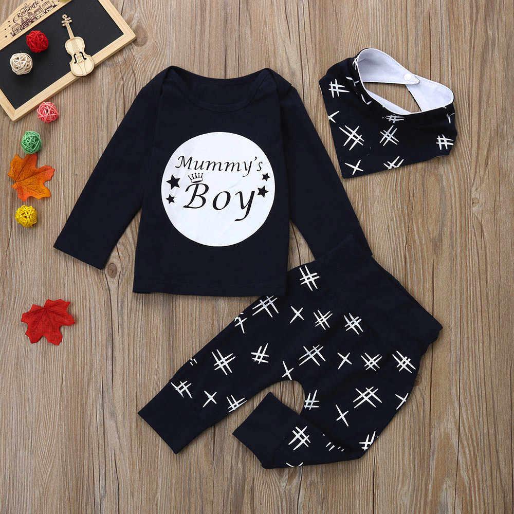 3 piezas niños pequeños letras impresas Tops negro blanco rayas pantalones Baberos conjuntos infantil chico invierno moda Casual traje conjuntos