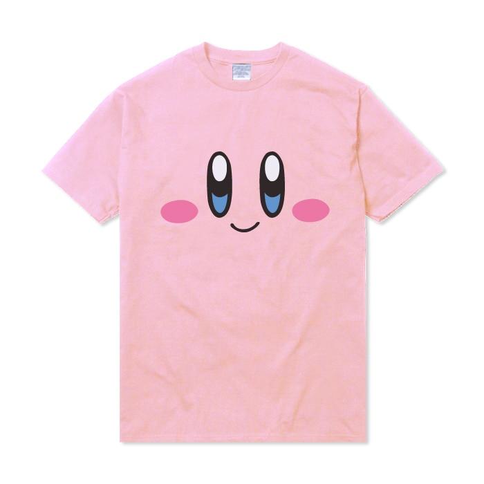 Kawaii Summer Shirts Super Star Kirby x YUMMY Loose T Shirt Short Sleeves Top Tee Cartoon Cosplay Costume