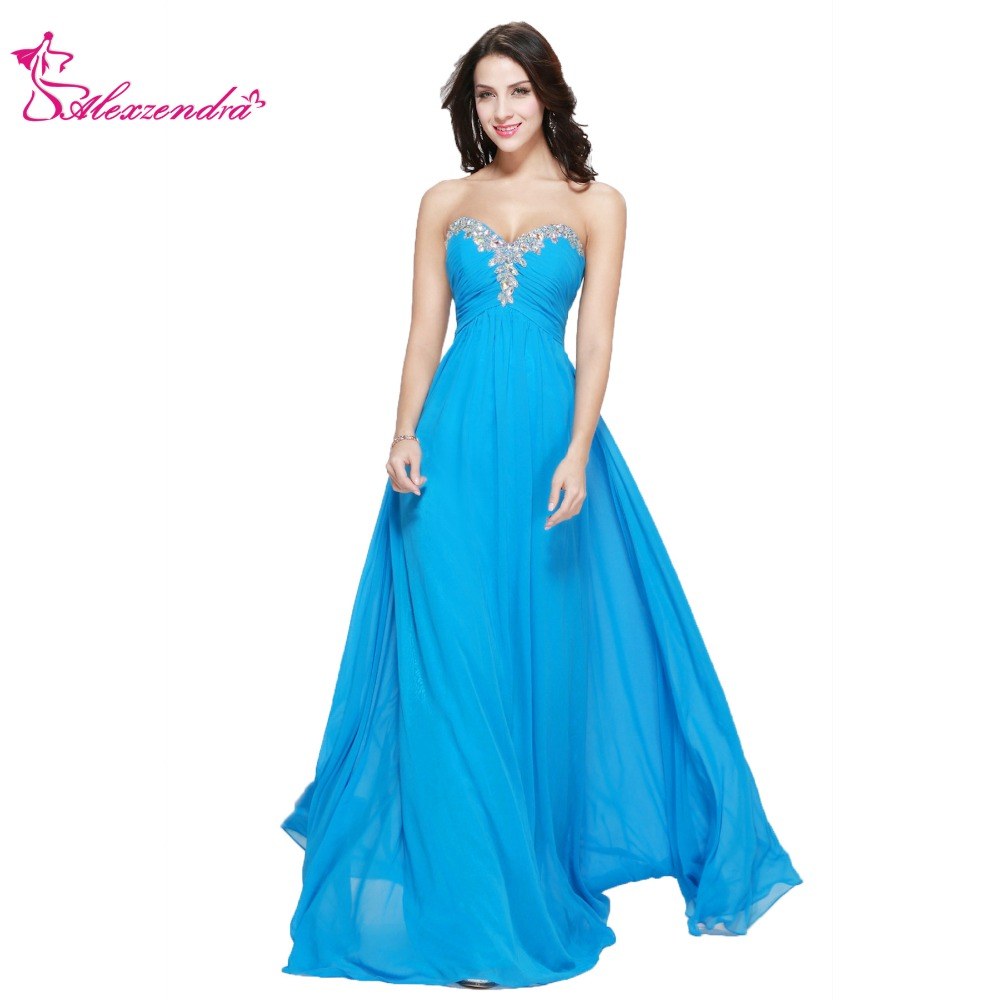 Alexzendra Sweetheart Beaded Long Prom Dresses Simple Chiffon Plus ...